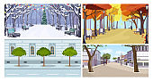 City buildings and trees flat vector illustration set