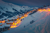 Fantastic ski resort at dawn in the French Alps, Europe