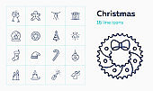 Christmas line icon set. Fir tree, bauble, candle
