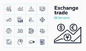 Exchange trade line icon set