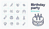 Birthday party line icon set. Decoration, cake with candles