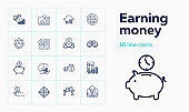 Earning money icons