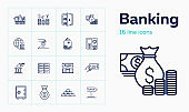 Banking line icon set. Cash, currency rate, savings