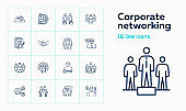 Corporate networking line icon set