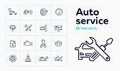 Auto service line icon set