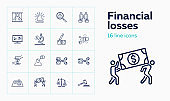 Financial losses line icon set