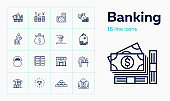 Banking line icon set. Purse, currency, credit card