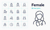 Female line icon set. Baby girl, cashier, woman