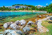 Spectacular coastline and wonderful beach, Rovinj, Istria region, Croatia, Europe