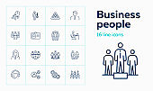 Businesspeople line icon set