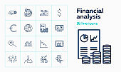 Financial analysis line icon set