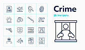Crime line icon set