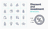 Discount and investment icon set