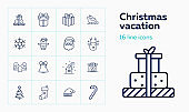 Christmas vacation line icon set. Home, mittens