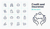 Credit and insurance icon set
