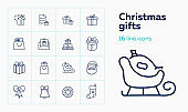 Christmas gifts line icon set. Santa Claus, sled