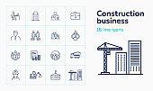 Construction business line icon set