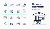 Finance insurance line icon set