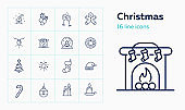 Christmas line icon set. Mistletoe, gingerbread