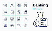 Banking line icon set. Safe, payment, cash