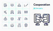 Cooperation line icon set