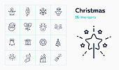 Christmas line icon set. Characters, Santa Claus