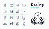 Dealing line icon set