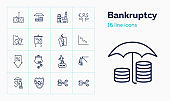 Bankruptcy line icon set