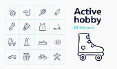Active hobby icon set