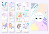 Calendar 2020 with hand drawn shapes and textures in soft pastel colors