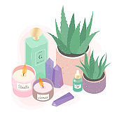Aromatic candles,home plants,oil and amethyst crystals vector illustration set