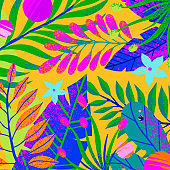 Universal vector illustration with bright tropical leaves,flowers and elements