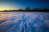 Winter landscape at beautiful sunny evening