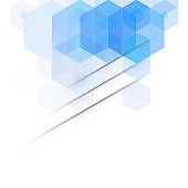 Abstract geometric background. Template brochure design. Blue hexagon shape Vector background