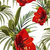 Beautiful blooming seamless pattern with red Lilies flowers and tropical palm leaves.