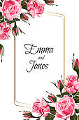 Floral elegant invite card gold frame design: vintage style pink roses.