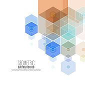 Abstract geometric background. Template brochure design. Color hexagon shape