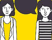 women talking avatars characters