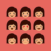little girls emoticon set kawaii characters