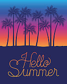 Hello summer and palm trees design