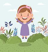 happy little girl in the field landscape