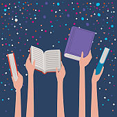 Hands holding books design vector illustration