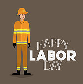 happy labor day card with firefighter