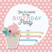 happy birthday party invitation with floral decoration and cupcake