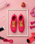 Shoes on color background