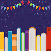 Group of books and pennant design vector illustration