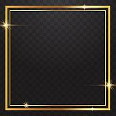 Gold Frames Light In Transparent Background
