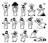 Jesus Christ emotions, feelings, expressions, and actions in icons pictogram.