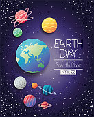 group of planets earth day celebration