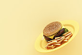 hamburger with french fries in the plate on yellow background. 3d render